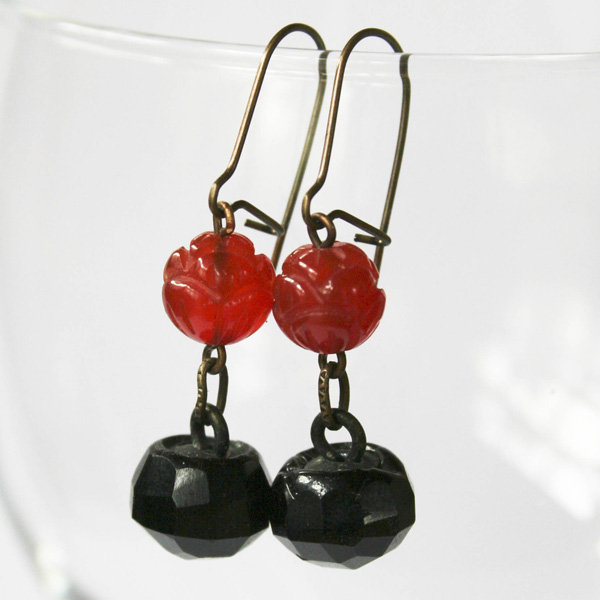 carnelian-and-antique-glass-button-earrings