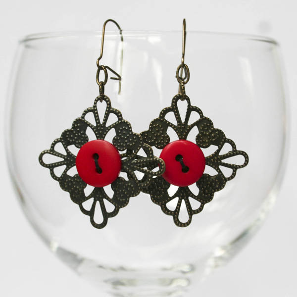 red-button-filigree-earrings